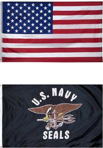 3x5 USA American Flag US Army 2 Flag Premium Set Gift Premium Banner Set
