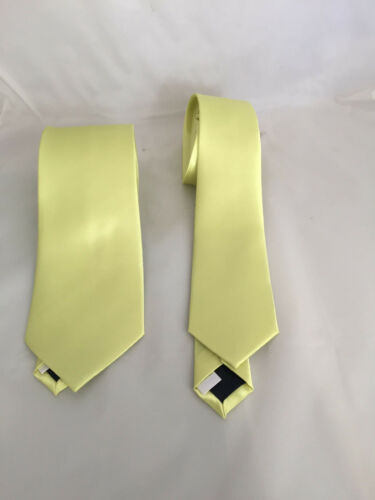 "Neon Yellow Mens Polyester Ties/>Classic 3.3/"" Skinny 2.5/"" OR Set OR Hankie Only!"