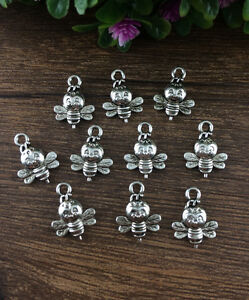 Wholesale-12pcs-Tibet-silver-Bees-Charm-Pendant-beaded-Jewelry-Findings-DIY