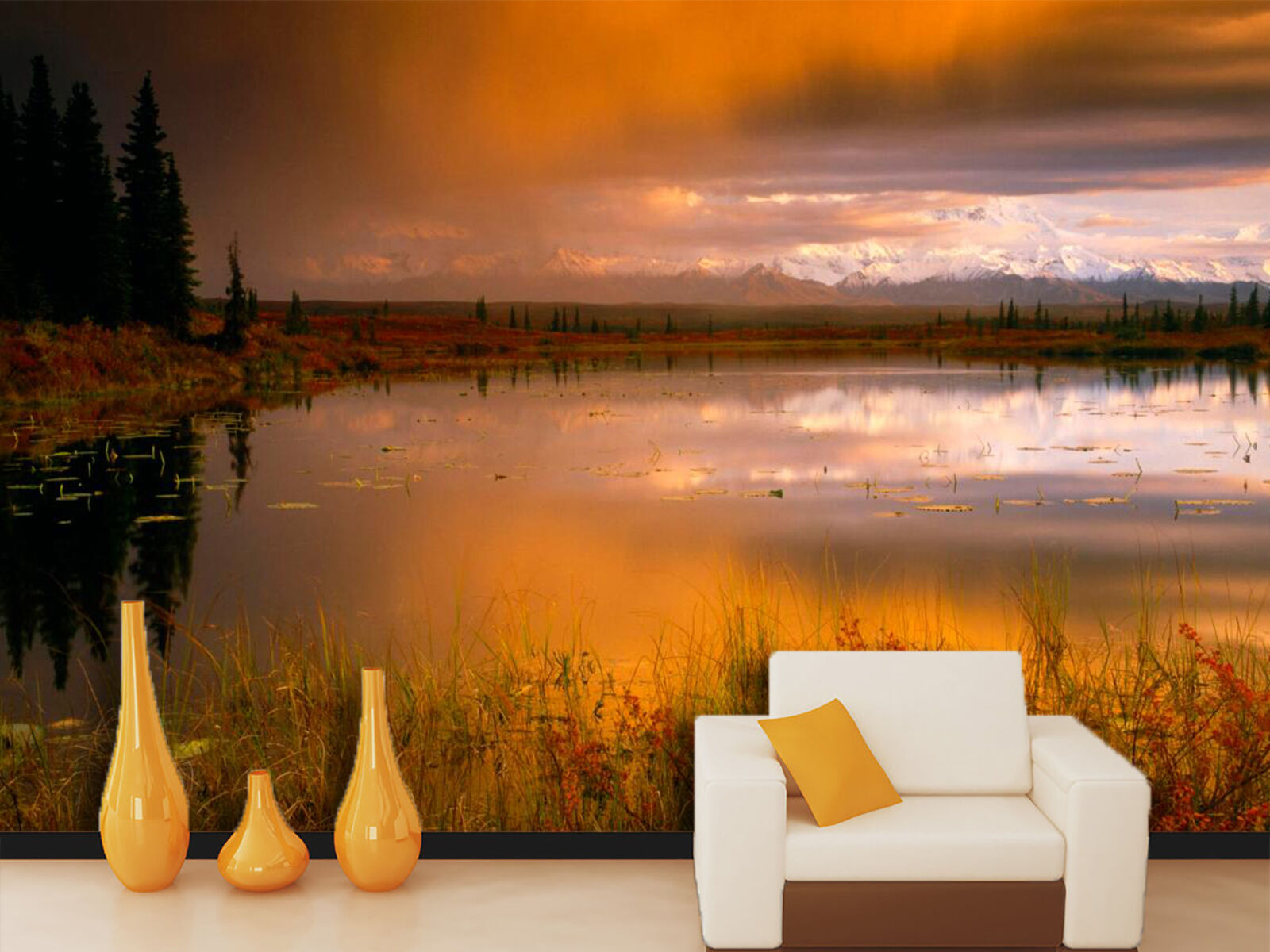 3D Sunset Glow River Scenery 9 Wall Paper Wall Print Decal Wall Deco Indoor Wall