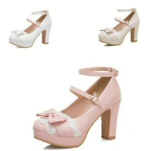 Details about  /Womens Lolita Mary Janes Round toe Buckle Bowtie Cosplay Block Heel  Shoes #2