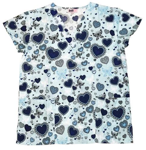 Womens Fashion Medical Nursing Scrub Tops Printed Blue Heart Butterfly M