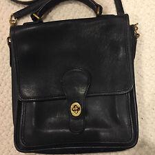 Vintage COACH 5130 Classic Medium Black Leather Station Bag Cross Body Handbag