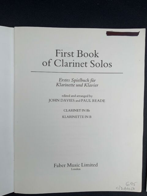 clarinet FIRST BOOK OF CLARINET SOLOS Davies Reade