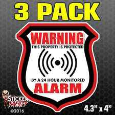 3 Pack WARNING ALARM Shield RED Stickers Video Security System Vinyl Decal FS034