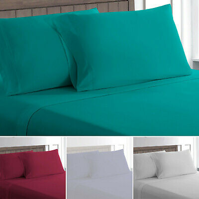 Flat Bed Sheets 100/% Poly Cotton Single Double King Super King or Pillow cases