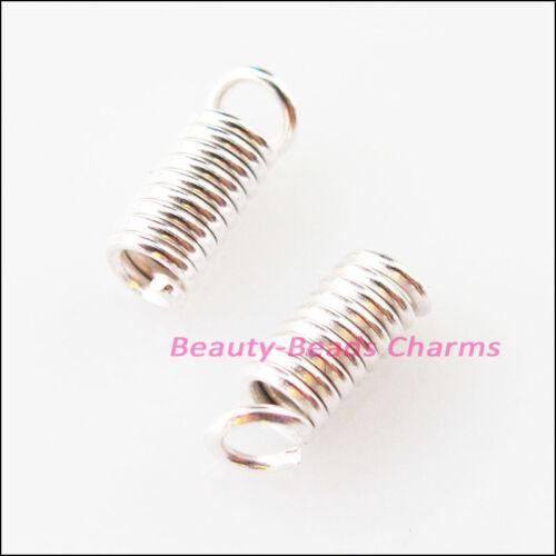 120Pcs Coil End Crimp Necklace Fastener Connectors 3x6mm Gold Dull Silver Bronze