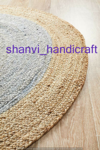 Indian Natural Round Reversible Beige Colour Jute Mat Rugs Floor  Decor Rags
