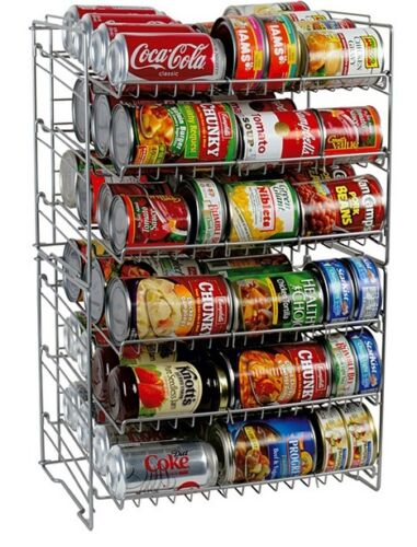 Organize Pantry Double Can Rack Holds Soda Cans Durable Steel Rack Soup Cans
