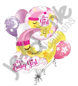 7 pc baby girl sleeping moon balloon bouquet party decoration
