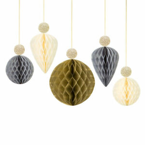 5-x-Metallic-Honeycomb-Bauble-Glitter-Topper-Party-Christmas-New-Year-Decoration