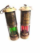 NAUTICAL BRASS LANTERN ~SHIP OIL LAMP ~ MARITIME BOAT LIGHT ~ NAVY LONDON 1920
