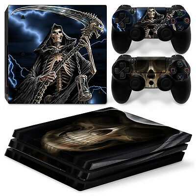 Precise Sony Ps4 Playstation 4 Pro Skin Sticker Screen Protector Set Faceplates, Decals & Stickers Video Games & Consoles Grim Reaper Motif