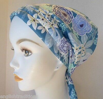 Blue Floral Chemo Cancer Hat Alopecia Hair Loss Scarves Turban Head Wrap Cover