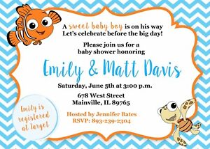 Details About Finding Nemo Baby Shower Invitation Fish Boy Party