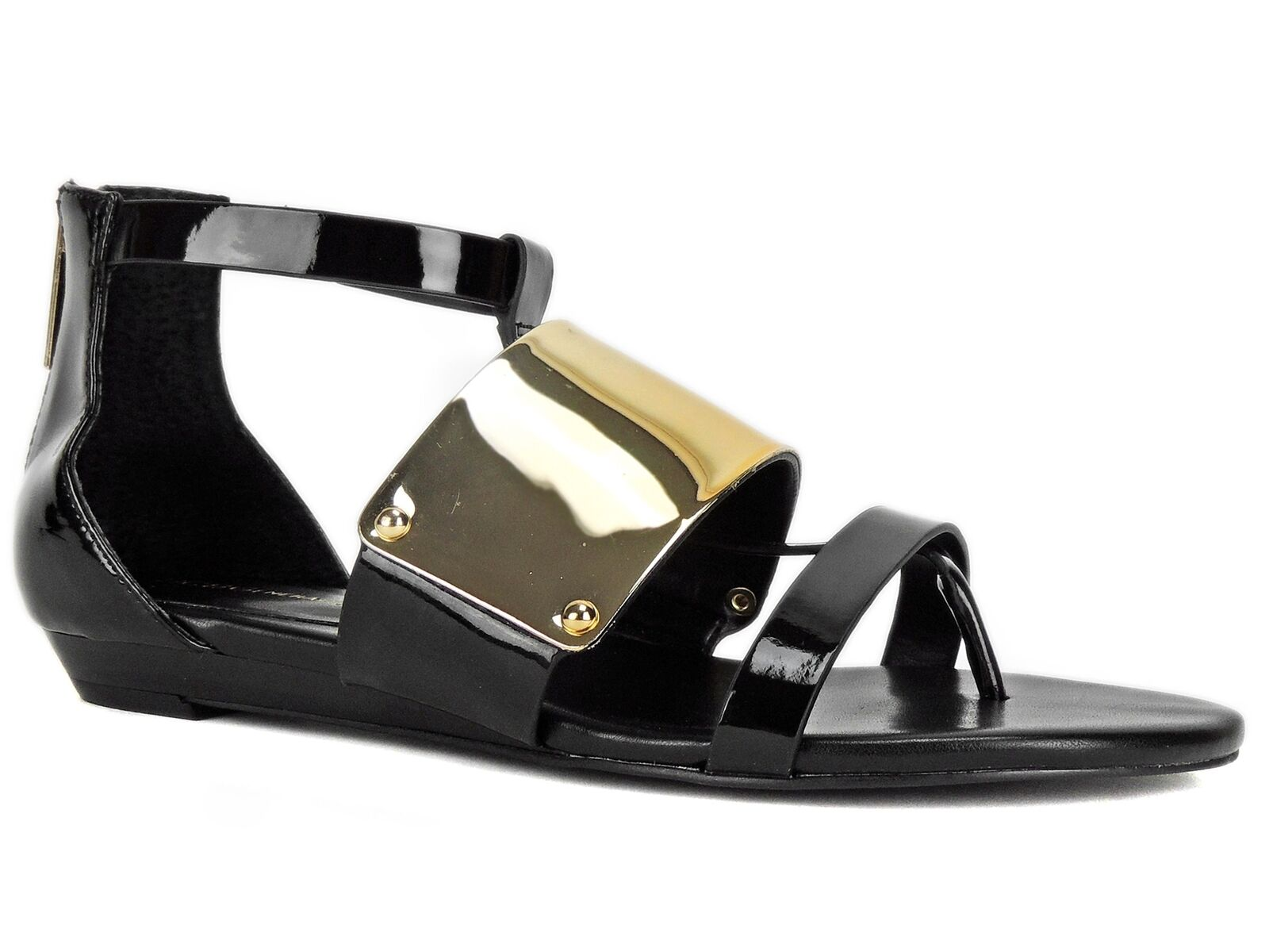 BCBGeneration Women's Angelika Gladiator Flat Thong Sandal Black Patent Size 6 M