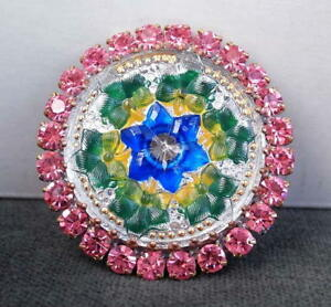 Vintage-Style-Czech-ALL-Glass-Rhinestone-Pin-Brooch-T045-SIGNED