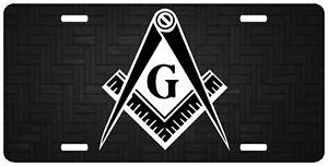 Details about Black White Masonic License Plate Mason Freemasonry Truck  Auto Car Tag Emblem