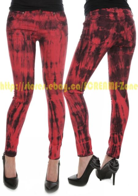 1e1f9fe398524 Hot Topic RED Black Tie Dye Club Denim Skinny Jeans Goth Punk Visual Kei  Pants
