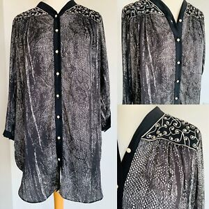 Ladies Silky Tunic Black White Animal Print Embroidered Button Up Blouse Size M