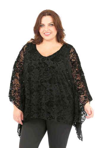 Ladies poncho top cape plus size 16//18 20//22 24//26 curve black devore velvet