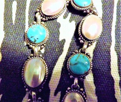 """CAROLYN POLLACK Vintag Sterling Silver Blue Turquoise Gem Link BRACELET 7.5"""" B64"""