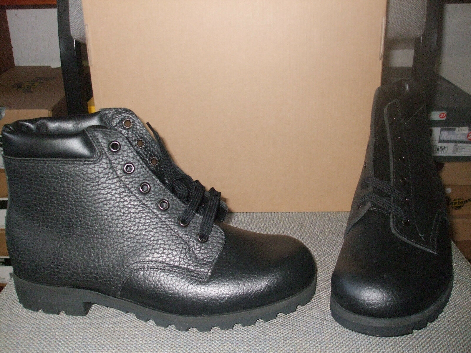 MENS MARLOWS BLACK LEATHER BOOTS. PADDED COLLAR SIZES 8 + 11