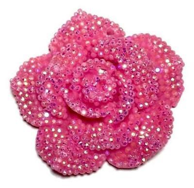 42mm hot pink rhinestone flower chunky bubblegum bead pendant 1 or 5 pieces