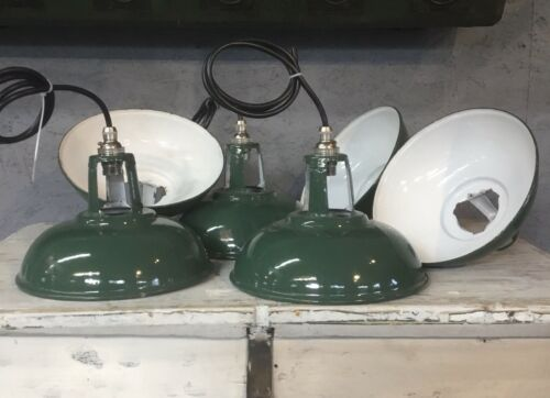 Original Vintage Green Enamel Pendant Lights