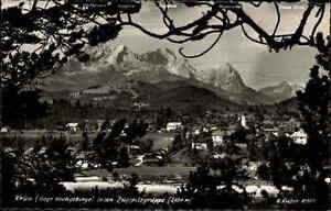 1953 Stempel von KRÜN auf alter s/w Postkarte Gesamtansicht mit Zugspitze Alpen