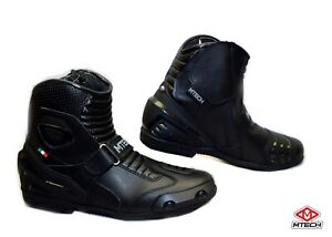 New-MTECH-Motorbike-A-Grade-Leather-Racing-Boots-Shoes-Short-Style-Water-Proof