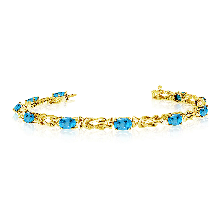 14K Yellow gold Oval bluee Topaz Reef Knot Bracelet