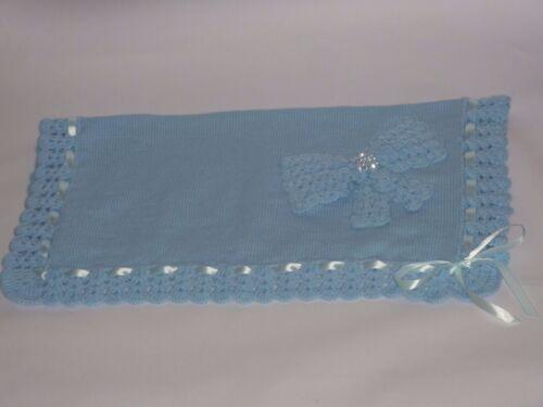 LOVELY NEW BLUE  Hand Knitted Crochet Bring Home  Baby Blanket Cot Pram Handmade
