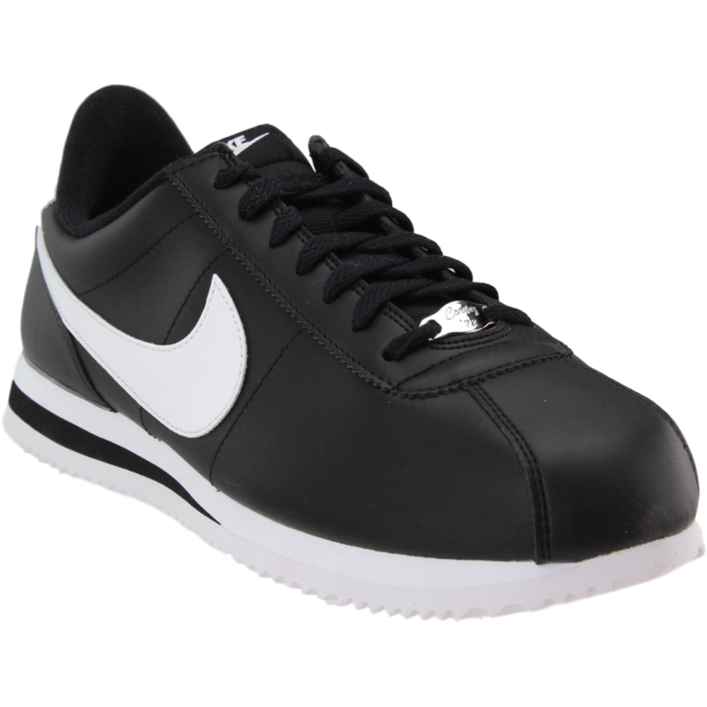best service 95361 ead4c Nike Cortez Basic Leather Sneakers - Black - Mens