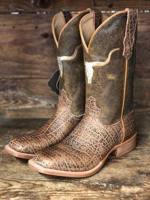 Twisted X Uomo's Rancher Saddle Elephant Print Square Toe Western Stivali MRAL017