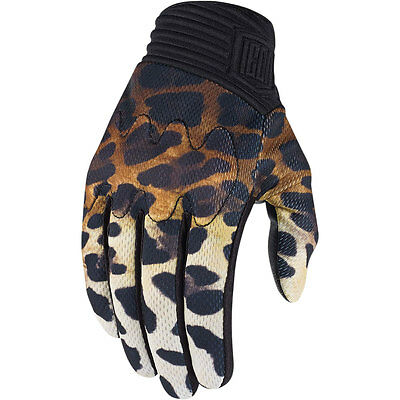 Icon 1000 Women's Cheeter Gloves for Motorcycle Gloves Cheetah Leopard