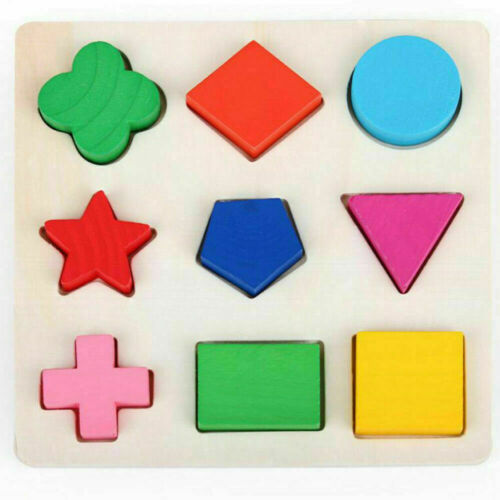 3D Baby Kids Wooden Puzzle Jigsaw Toys Shape Sorter Educational Learning Toy UK