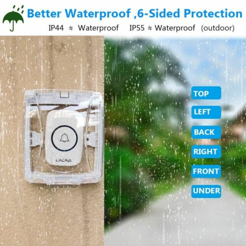 Wireless Doorbell Waterproof Cover Smart Chime Tape Button Transmitter Home Ring