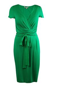 68-Phase-Eight-8-Green-Wrap-Midi-Jersey-V-Neck-Tea-Dress-Belted