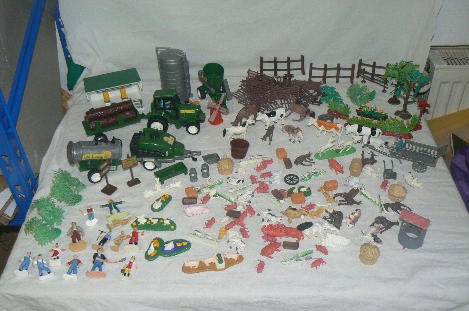 ENORME lot de figurines + vehicules pour la ferme , tracteur , animaux , A VOIR