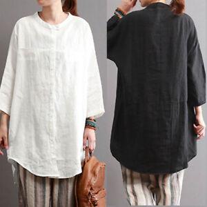 Women-Summer-Casual-Basic-Cotton-Shirt-Tee-Tunic-Peasant-Blouse-Plus-Size-Top