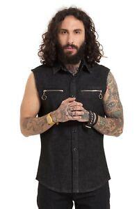 Denim-Zipper-Shirt-Punk-Metal-Great-for-Patches-S-M-L-XL