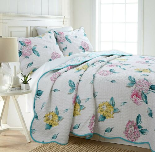 Lowe Floral Reversible 100/%Cotton 3-Piece Quilt Set Coverlet Bedspread