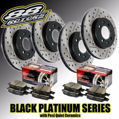 Rear Drilled /& Slotted Black Platinum Series Rotors Posi Quiet Brake Pads Front