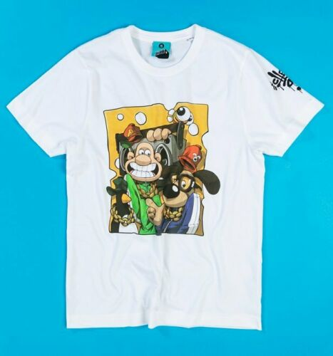 Official Aardman x Cheo Wallace And Gromit White Organic T-Shirt