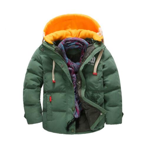 Handsome Kids Boy Winter Warm Coat Cotton Windproof Detachable Cap Jackets New