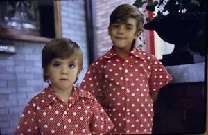 Vintage-Photo-Slide-1972-Brothers-Boys-Polka-Dot-Shirts-Smiling-Happy-Boys