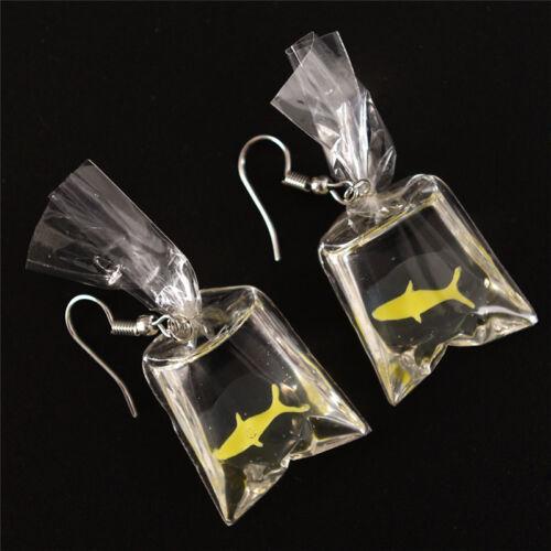 Fait à la main poisson sac d/'eau pendentif boucle d/'oreille crochet Drop Dangle^