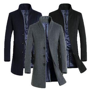 0bb7f338d8cc Mens Wool Coat Long Jacket Outerwear Overcoat Black Navy Grey