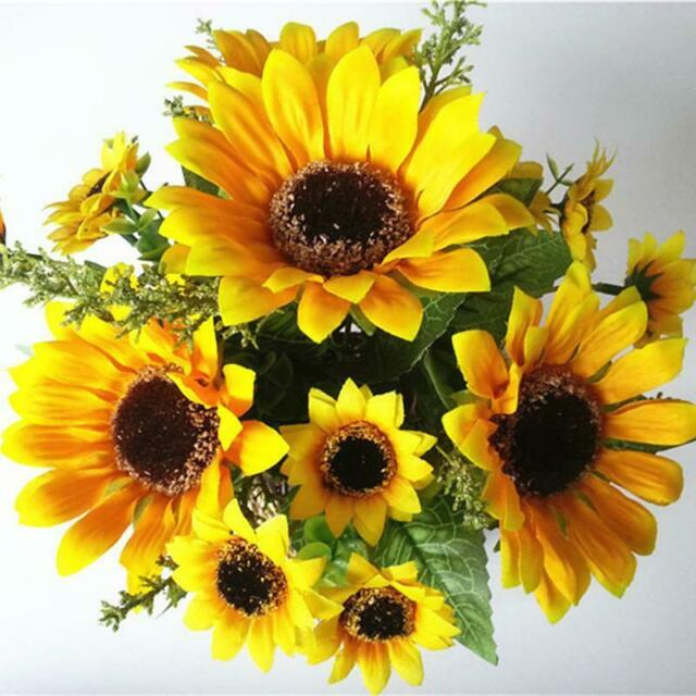 7 Heads Fake Sunflower Artificial Silk Flower Bouquet Home Wedding Floral For Sale Online Ebay